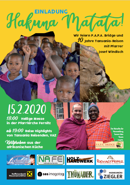 Hakuna Matata! – We're celebrating P.A.P.A. Bridge and 10 years of Tanzania trips with Father Joseph